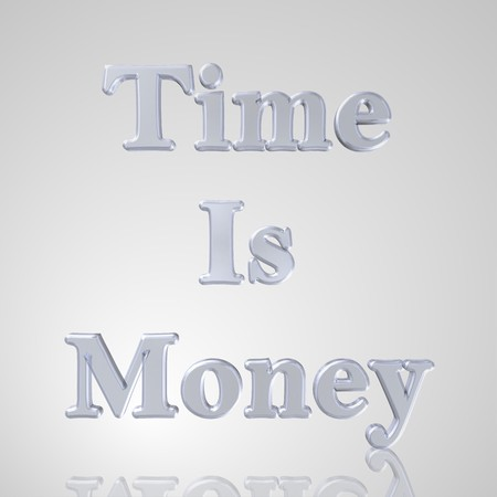 formulate: 3d text for business and website design. With central word Time is money