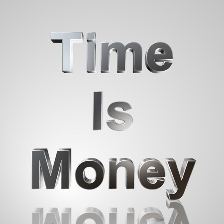steadiness: 3d text for business and website design. With central word Time is money
