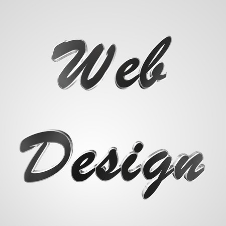 prerequisite: 3d text for business and website design. With central word Web Design