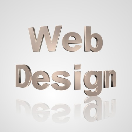 3d text for business and website design. With central word Web Design
