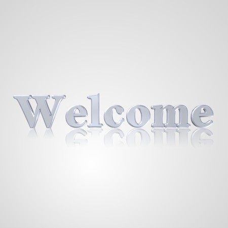 socially: 3d text for business and website design. With central word Welcome Stock Photo