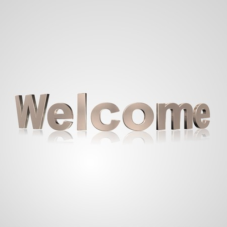 prerequisite: 3d text for business and website design. With central word Welcome Stock Photo