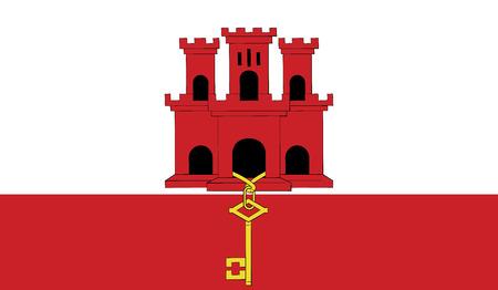 flagging: Gibraltar flag vector illustration.  Illustration