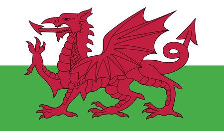 white flag: Wales  flag vector illustration.