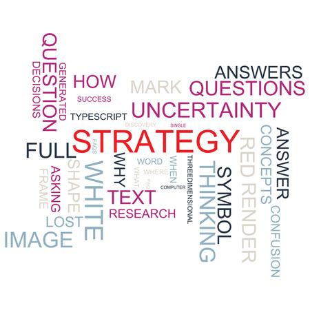 Word Cloud voor het bedrijfsleven en website-ontwerp. Met centrale woord strategie. Met een mooi design in verschillende kleuren.