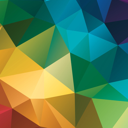 Abstract geometric background. Multicolored triangles. Beautiful inscription. Triangle background with bright lines. Pattern of crystal geometric shapes. Multicolor mosaic banner