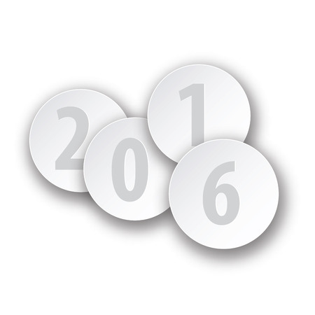 intent: 2016 New Year sign on gray background. Vector paper illustration.