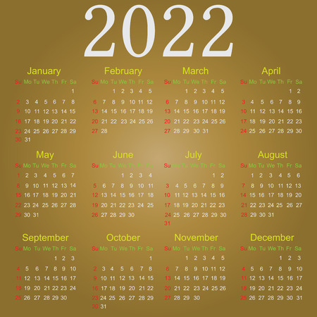 months: Simple vector calendar for 2022 with all the months