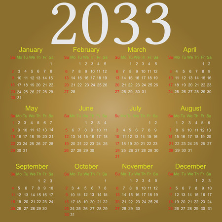 Simple vector calendar for 2033 with all the months