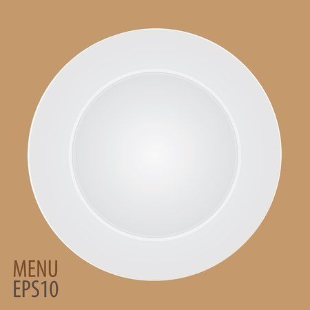 The Plate with cutlery - Flat vector illustration