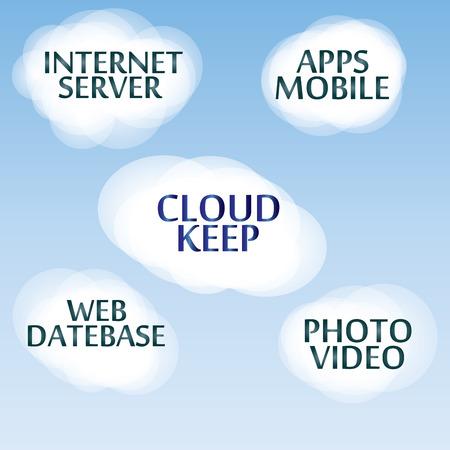 Vector flat concept of safe cloud computing. Cloud service - vector illustration