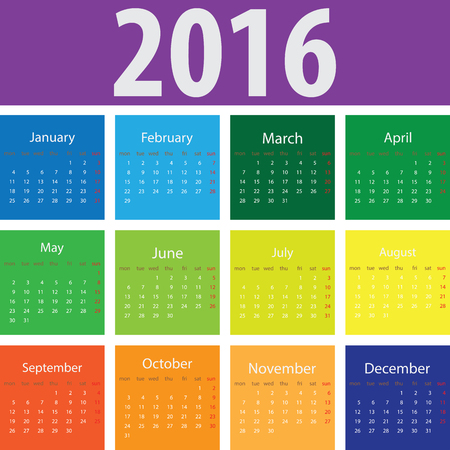 times square: 2016 elegant squared calendar. With USA festive days. File easy to edit and apply. Year 2016 calendar. Calendar 2016 Illustration