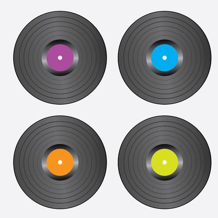 Set Of Vinyl Records. Realistic Vector Illustration