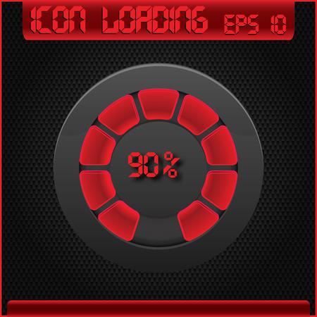 Progress bar and loading icons 90 percent