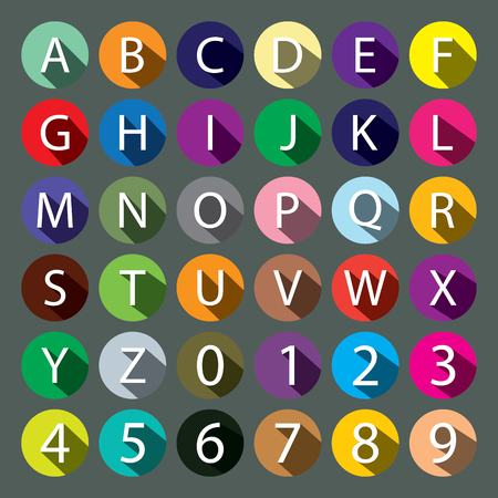 Vector set of icons and symbols of alphabet and numbers made in the style flat. Isolated letters with long shadows on colored covers circles. Collection letters numbers and punctuation marks.