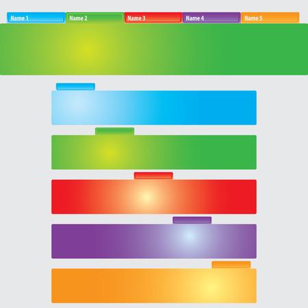 rainbow stripe: Blank Infographics colorful rainbow stripe banners on gray background Illustration