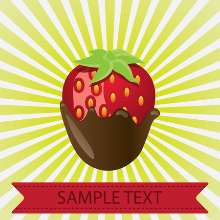 dipped: This is a vector illustration of a chocolate dipped strawberry Illustration