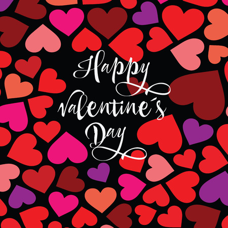 happy Valentine s day. Hand drawn brush pen lettering on pink glittering hearts background. design for holiday greeting card and invitation of the wedding, Valentines  day and love day