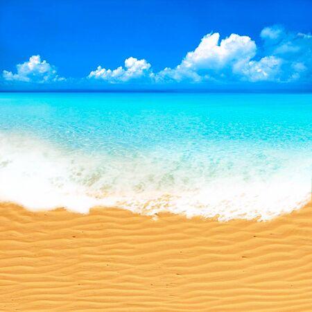 Letnie wakacje na plaży nad morzem. Realistyczny projekt plakatu na wakacje letnie do podróży na piaszczystej plaży w pobliżu morza lub oceanu Zdjęcie Seryjne