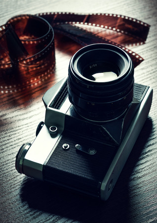 photographic: Retro camera and photographic film