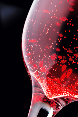 Red drink with bubbles at the grocery