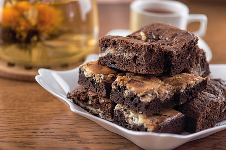 brownies: A stack of chocolate brownies