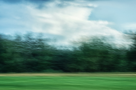 promptness: Speed blurred outlines of the forest Stock Photo