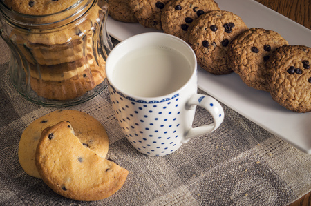 Homemade oatmeal chocolate chip cookies and cup of milk