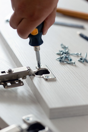 Furniture assembly. Work tool and components.