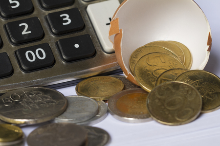 Business Investment Calculation illustrated with egg shell, calculator, and coins Stock Photo