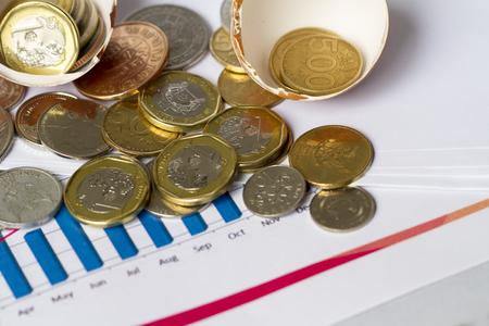 コイン、卵の殻との進歩の図表で示されて投資スタートアップ