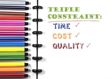 カラーペン、トップビューを備えた白いスケッチブック上のプロジェクト管理トリプル制約テキスト
