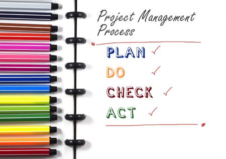 カラーペン、トップビューを使用した白いスケッチブック上のプロジェクト管理プロセステキスト 写真素材