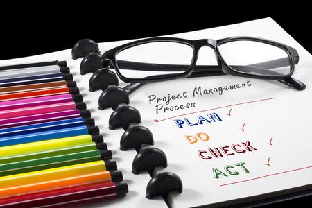 カラーペンと眼鏡を使用した白いスケッチブックのプロジェクト管理プロセステキスト