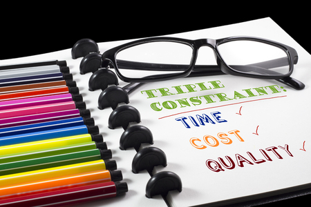 Project Management Triple constraint text on white sketchbook with color pen and eye glasses Stock Photo