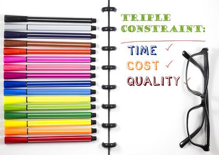 カラーペンと眼鏡、トップビューフラットレイ付きの白いスケッチブック上のプロジェクト管理トリプルコンストレイントテキスト 写真素材