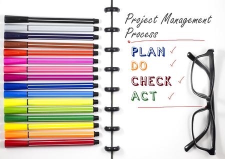 カラーペンと眼鏡、トップビューフラットレイを備えた白いスケッチブック上のプロジェクト管理プロセステキスト 写真素材