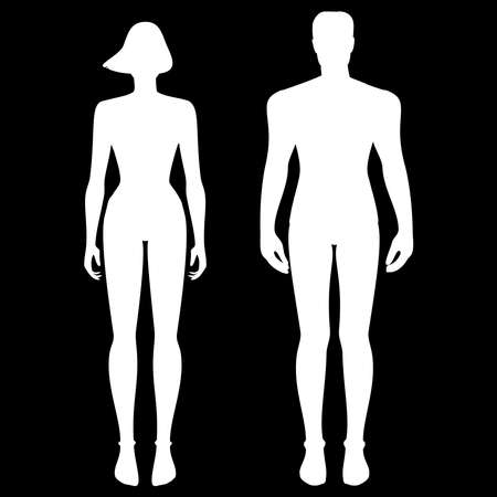 White silhouette of a male and female body on a black background