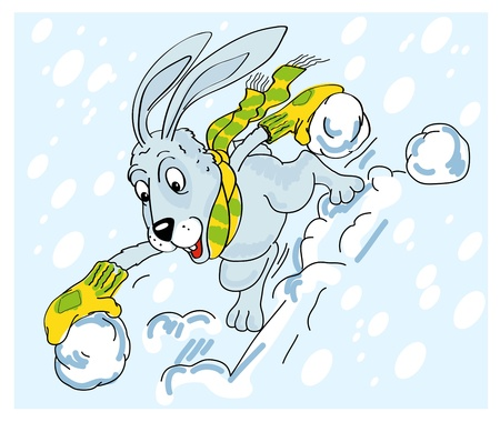 played: Hare played in snowballs. Vector clipart. Winter.