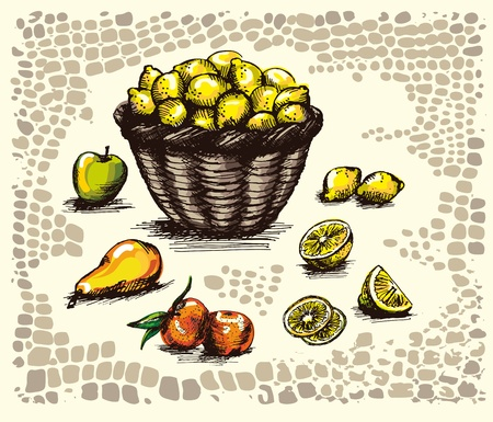 apple, pear, tangerine and a basket of lemons