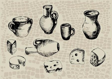 alfarero: la cerámica, una jarra con leche y una rebanada de queso