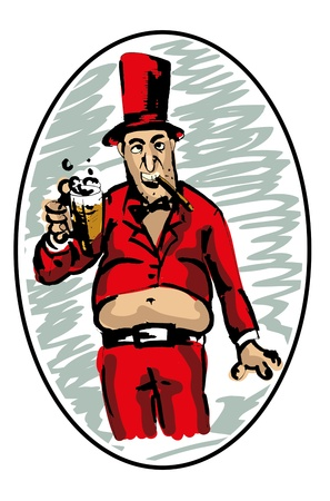 man in red, with a beer and a cigarette Vector