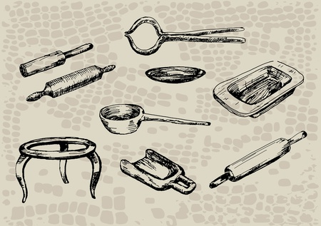 drawing pins: antique kitchen utensils. rolling pin, stand, shovel, capture Illustration