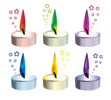 multiple birth: candles with colored flames - any holiday decoration