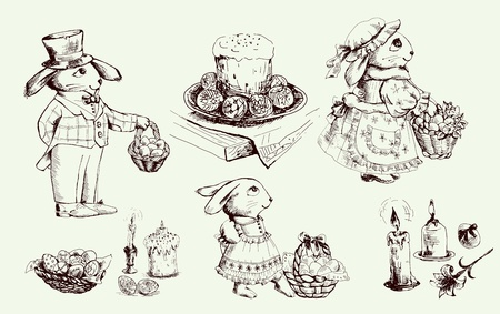 the feast of the passover: Sketch Easter bunny and various attributes of Passover