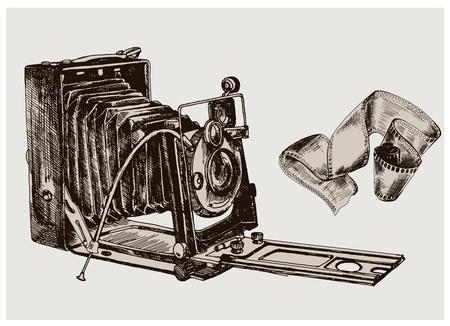 image of the camera  vector sketch retro