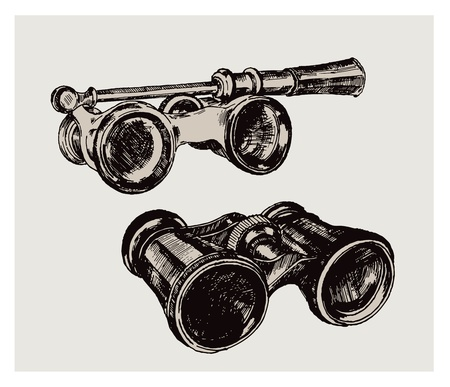 antique binoculars: vector vintage image of a binoculars on a gray background Illustration