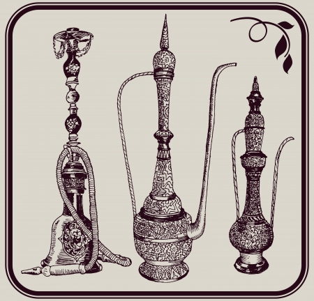 hookah: hookah and jugs  a set of three  sketches