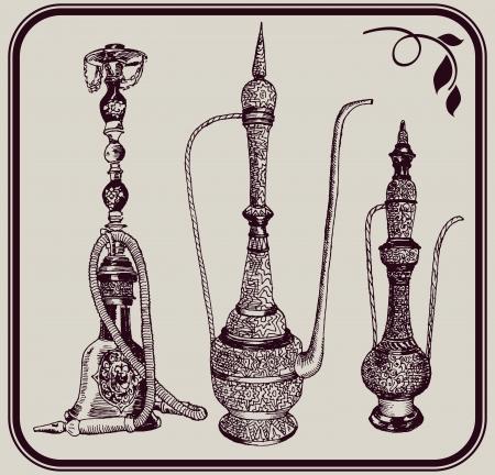 inhalacion: pipa de agua y jarras de un conjunto de tres bocetos