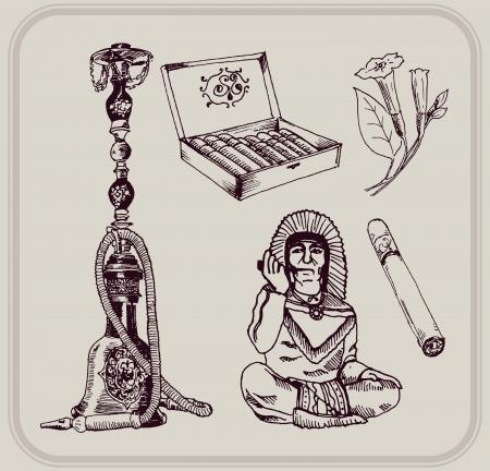 inhalacion: tabaco y fumar conjunto de cinco bocetos Vectores